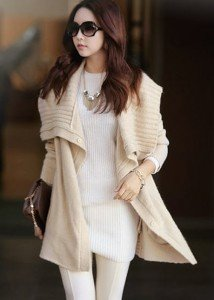 Korean-Style-Woman-Apricot-Long-Sleeve-Cardigan-Sweater
